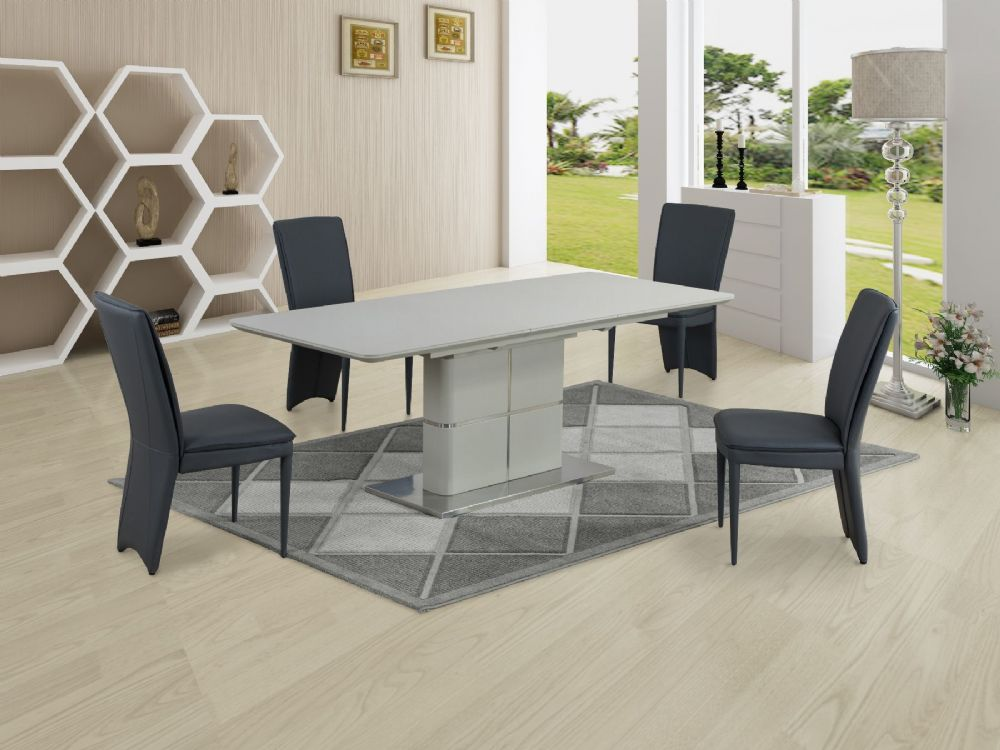 GA Porcelanosa  Cream Dining Table & Grey 4, 6, 8 and 10 Chairs
